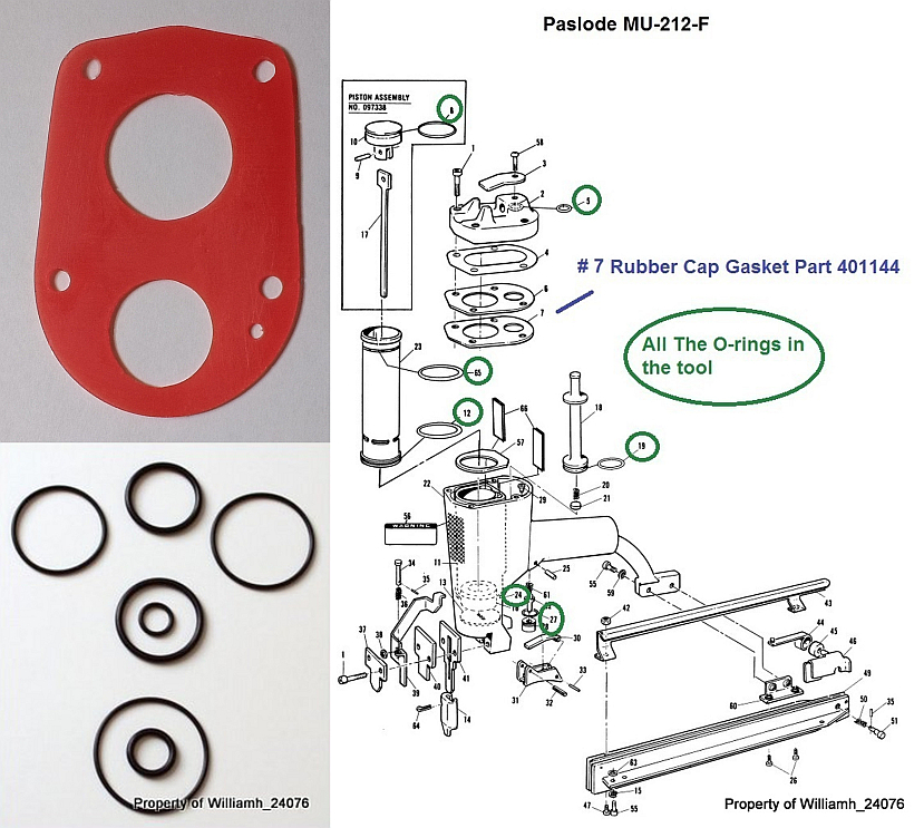 Paslode MU-212-F O-ring and Cap Gasket Kit