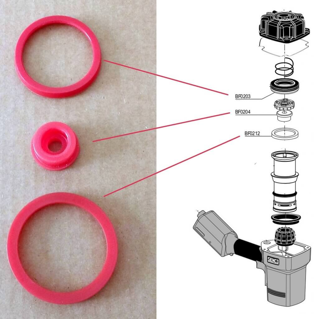 Senco FramePro BF0203 + BF0212 + BF0204 Parts