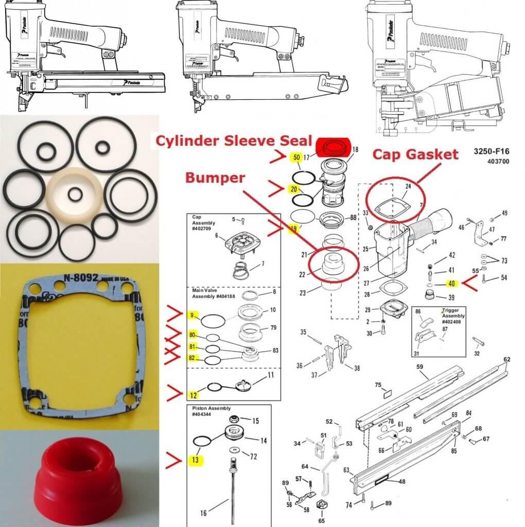 Paslode 3250 /F16 3150 Series O-ring + Cylinder Seal + Bumper + Cap Gasket