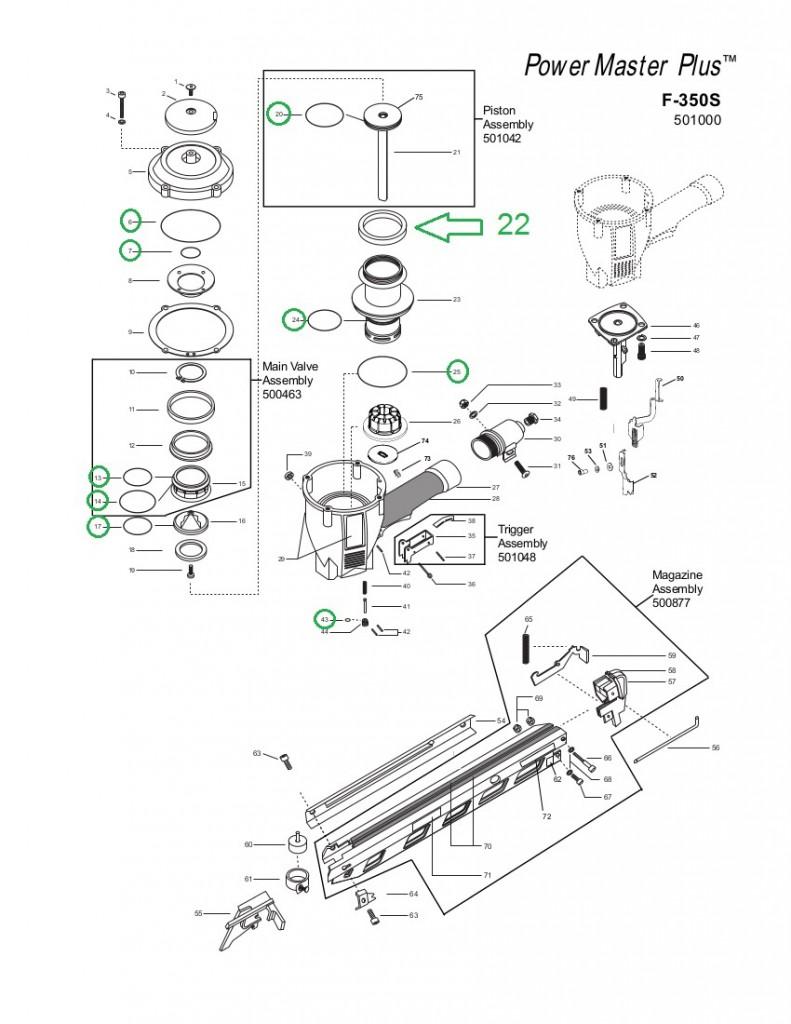 paslode f350s powermaster plus tool tune up repair 219235